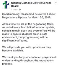 Facebook post at 7:45am from Niagara Catholic District School Board
