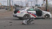 Toronto Police cruiser involved in collision on Keele north of Finch