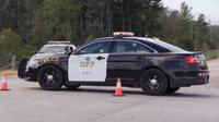 OPP shut down Coldstream Road between Gold Creek Drive and Lamont Drive to investigate a serious single-vehicle crash on Sunday, April 16, 2017.