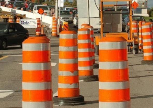 Orange construction cones