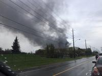 Smoke from a fire at Ajax Auto Wreckers May 6, 2017