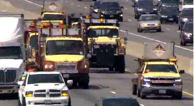 Rolling protest slows traffic along the 401