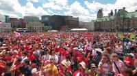 A crowd of Canada Day revelers on Parliament Hill.