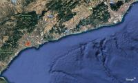 The Spanish resort town of Cambrils, shown in relation to the city of Barcelona.