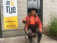 Jacquelyn Gelderblom spends days on Pas de la Rue and nights on a bench outside