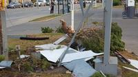 Debris from a Shell gas station sign that was stuck by a vehicle on Thursday, August 31, 2017.