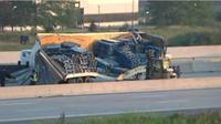 Tractor trailer spills wooden skids on EB 401 in Mississauga
