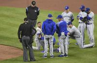 Blue Jays pitcher Marcus Stroman hit by a line drive in Baltimore Sept. 2, 2017.