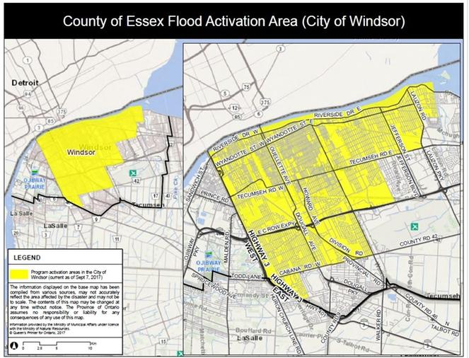 Flood Relief Maps Issued By Province - Windsor map