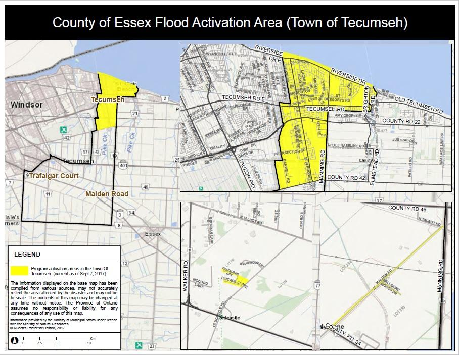 Map Of Tecumseh Ontario Canada Flood Relief Maps Issued By Province