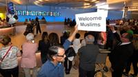 A sign welcoming Muslims in the Tom Bradley International Terminal at Los Angeles International Airport