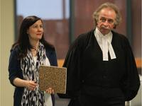 Adele Sorella walks to court in her trial in the deaths of her two daughters with lawyer Guy Poupart at the Palais de Justice de Laval in Laval on May 29, 2013. JOHN KENNEY / MONTREAL GAZETTE