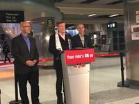 Transportation Minister Steven Del Duca, Mayor John Tory and TTC chair Josh Colle announcing free rides on all TTC vehicles Dec. 17 to celebrate opening of Line 1 extension.