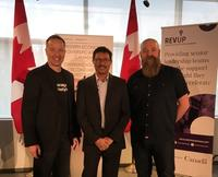 (From left to right) Kelowna-Lake Country Member of Parmliament Stephen Fuhr, Accelerate Okanagan CEO Raghwa Gopal,  and Executive Director of Kamloops Innovation Dr. Lincoln Smith.