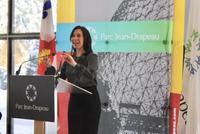 Mayor Valérie Plante speaking to reporters at Parc Jean-Drapeau.