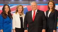 Ontario Conservative party leadership candidates, left to right, Tanya Granic Allen, Christine Elliott, Doug Ford and Caroline Mulroney pose for a photo in TVO studios in Toronto on Thursday, February 15, 2018 following a televised debate. THE CANADIAN PRESS/Chris Young