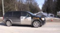 An OPP cruiser can be seen at Heritage Hills Golf Course in Oro-Medonte, Ont. on Tuesday, Feb. 27, 2018, following the discovery of human remains. (CTV Barrie)