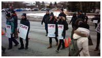 CUPE 2424, the union representing 800 administrative, technical and library staff at Carleton University take strike action on Monday, Mar. 5, 2018. (Jim O'Grady/CTV Ottawa)