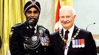 Minister of National Defence, Harjit Sajjan, with former Governor General of Canada, The Right Honourable David Johnston