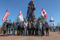 Members of the North American Indigenous Games site evaluation team and the 2020 Halifax bid committee visit with members of the community at the Millbrook Cultural Centre on April 12, 2018. (From left) Stacey Oxner, Gordon Pictou, Chief Bob Gloade, Vance Kruzewski, Tex Marshall, Paul Forest, Ken Thomas, Neal Alderson, Mike LaLeaune, Rose Inglagasuk, Jason Peters, Angela Dennison, Kevin Winkler, Colin Bernard, Jeff Turner and Mattea Bernard.