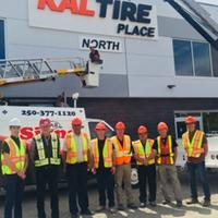 Photo: From left to right – Jamie Shillingford, Kal Tire Marketing Merchandising Coordinator, Brian Quiring, MQN Architects, Mayor Akbal Mund, City of Vernon, Doug Ross, Director Recreation Services, Rob Senger, Arena Operations Coordinator, Stan Mitchell, Arenas Manager, Bob Fleming, Area B Director, Mayor Jim Garlick, District of Coldstream.