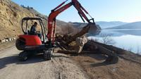 Local contractor, Paul Dick prepares for work along the Okanagan Rail Trail