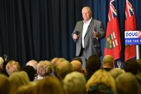 Doug Ford speaks to a crowd of supporters in Sudbury (May 3, 2018)