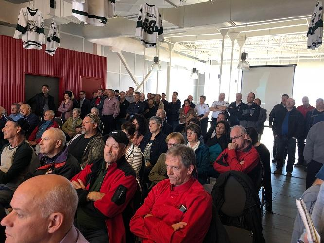 A big crowd was on hand at the E. & P. Senechal Centre for the announcement