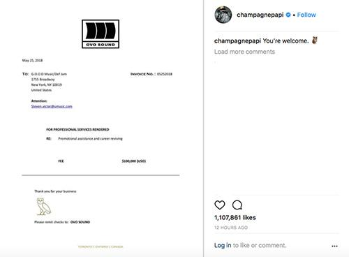 LISTEN Drake Drops Track In Response To Pusha T Kanye West Beef - Drake invoice