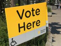 A voting sign outside an Elections Ontario polling place, May 2018