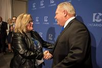 Doug Ford is congratulated by Lisa Thompson on Saturday, March 10, 2018. THE CANADIAN PRESS/Chris Young