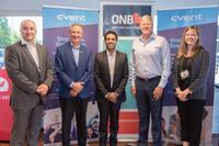 From left: Tyson Johnson, chief operating officer of CyberNB; Stephen Lund, CEO of Opportunities NB; Pardeep Mannakkara, senior vice-president and chief information officer of Cvent; deputy premier Stephen Horsman; and Erin Clendenning, business development officer with Opportunities NB. (Submitted/GNB)