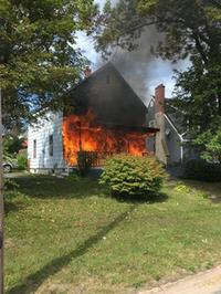 Saturday's fire on Stellarton Road displaced three people (Photo credit: Andrew Pike)