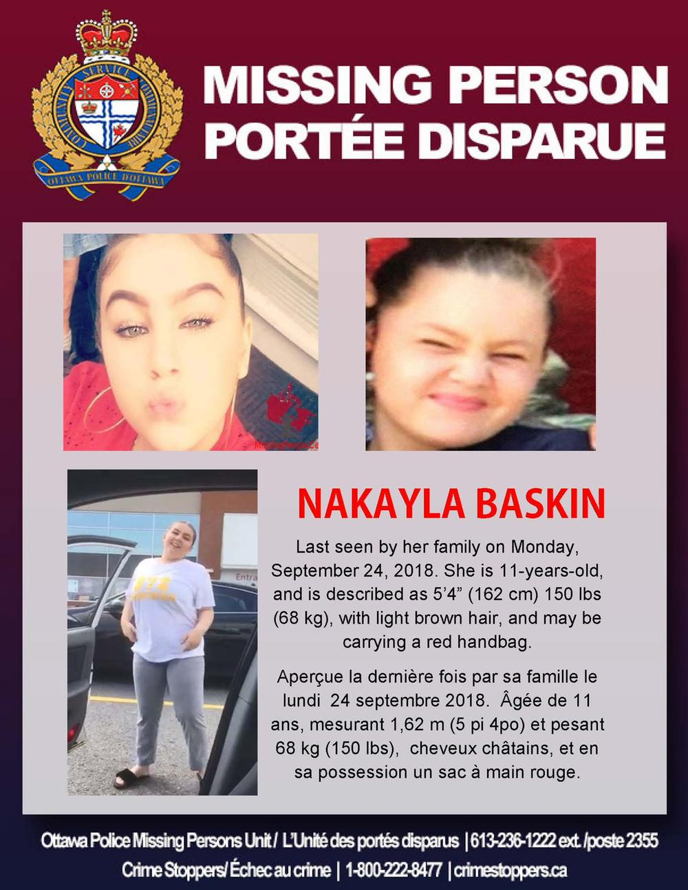 Ottawa Police looking to identify vehicle in case of missing Nakayla