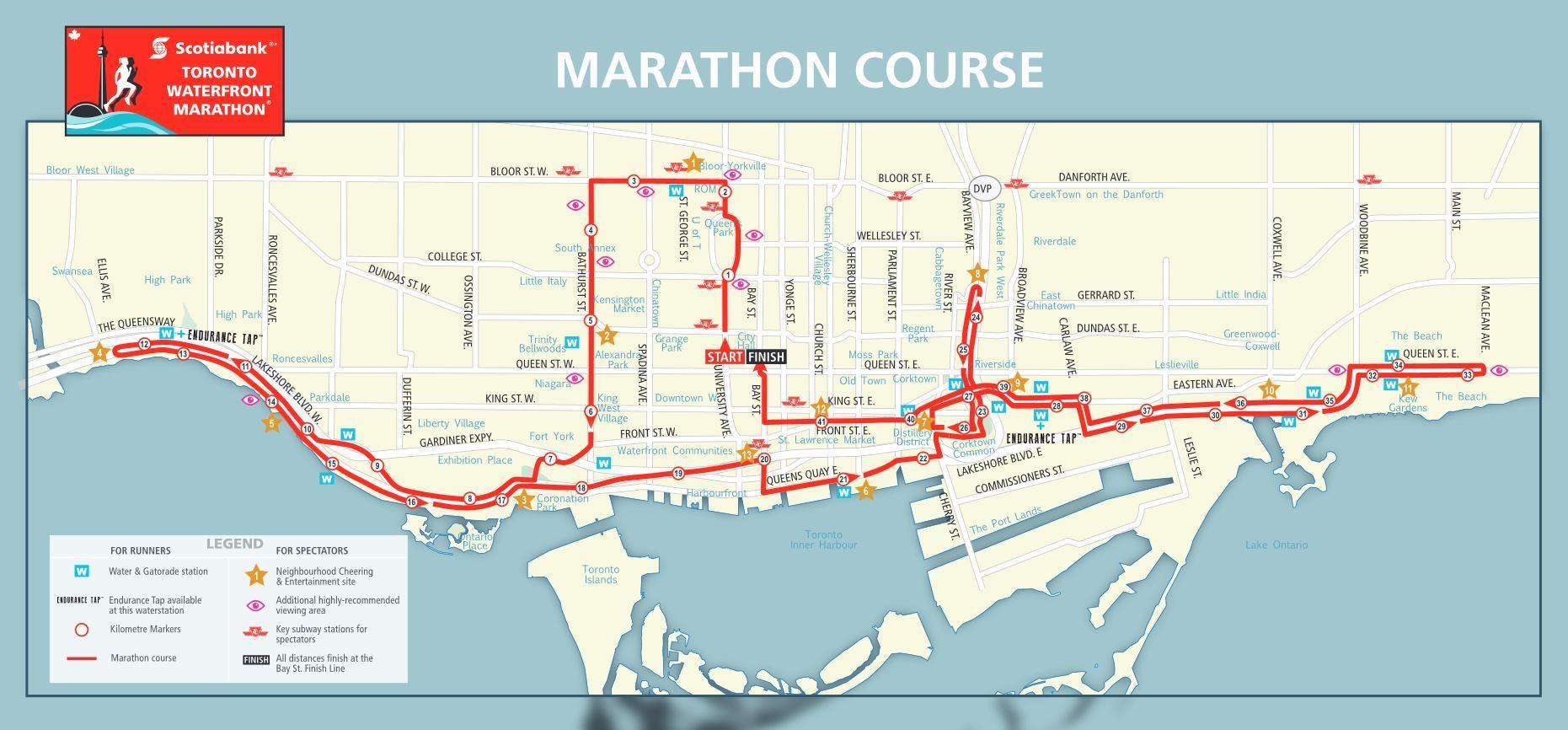 Marathon Subway Map.Road Closures Toronto Waterfront Marathon
