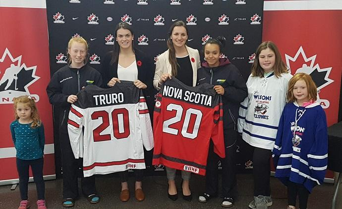 From left to right: Mila Moore, Baillie Griffon, Blayre Turnbull, Jill Saulnier, Willa Evans, Addison Ritcey, Alex Ritcey (Staff photo)
