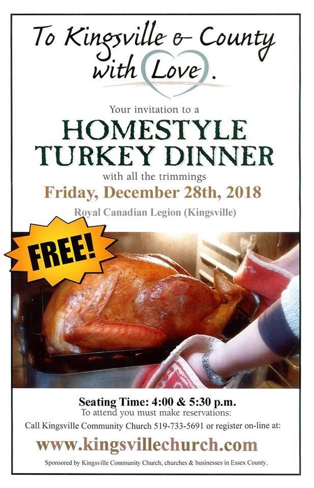 Kingsville Community Church Hosting Turkey Dinner
