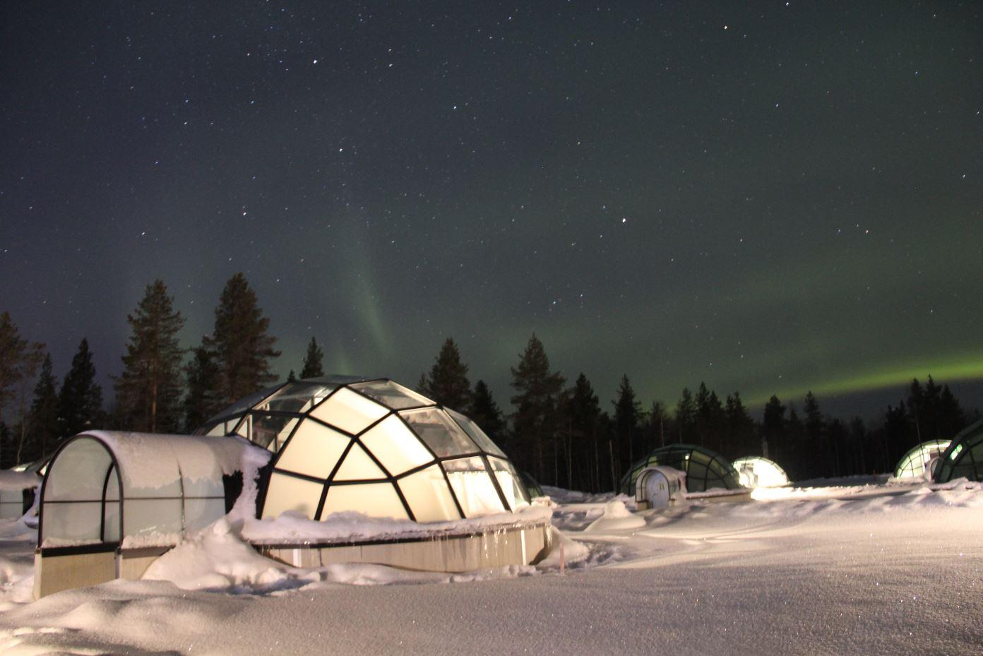 You could stay at a Northern Lights Resort with Glass Igloos