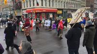 Activists march in support of pipeline protestors in B.C. in London, Ont. on Wednesday, Jan. 9, 2019. (Bryan Bicknell / CTV London)
