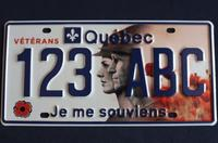 Quebec license plate for veterans