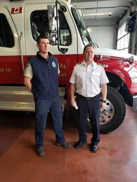 Jonathan Finlay from BC Wildfire Services and Penticton Fire Chief Larry Watkinson.