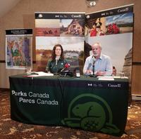 Sarah Boyle, Project Manager for the proposed reserve, and Kevin McNamee, Director of Protected Areas Establishment, address the media at a news conference Tuesday.