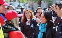 Mayor Valérie Plante speaks to guides from Destination Centre-Ville in Phillips Square downtown on May 21, 2019.