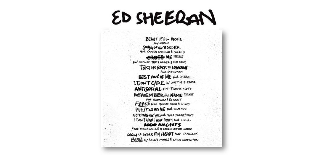 Ed Sheeran Has Released The Official Tracklisting For The No