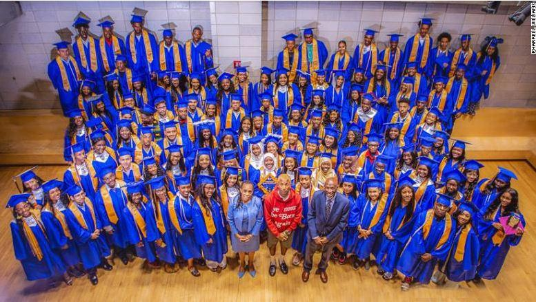 Pharrell Williams and grads
