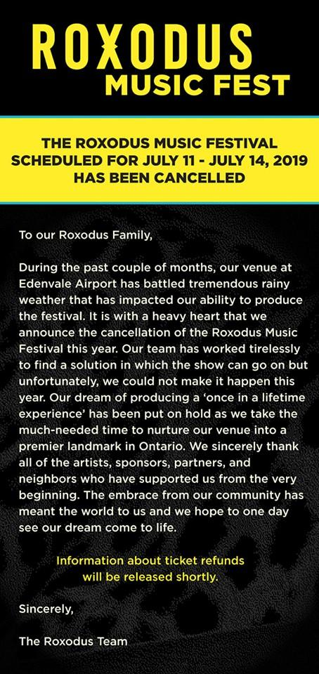 A statement on the Roxodus Website