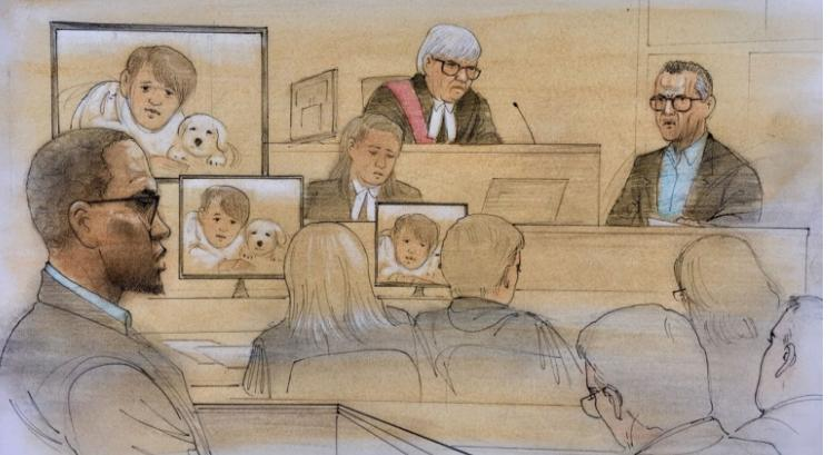 A court sketch of Christopher Husbands on the first day of his sentencing hearing, August 6, 2019