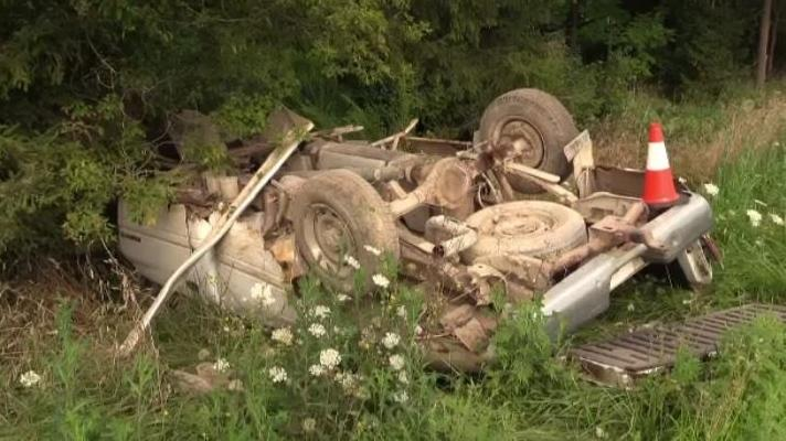 An overturned pickup truck is seen along Wellburn Road in Middlesex County, Ont. on Monday, Aug. 12, 2019. (Gerry Dewan / CTV London)