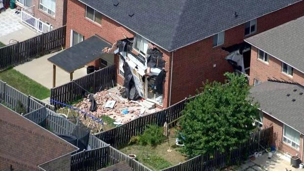A Brampton home, damaged by a reported explosion