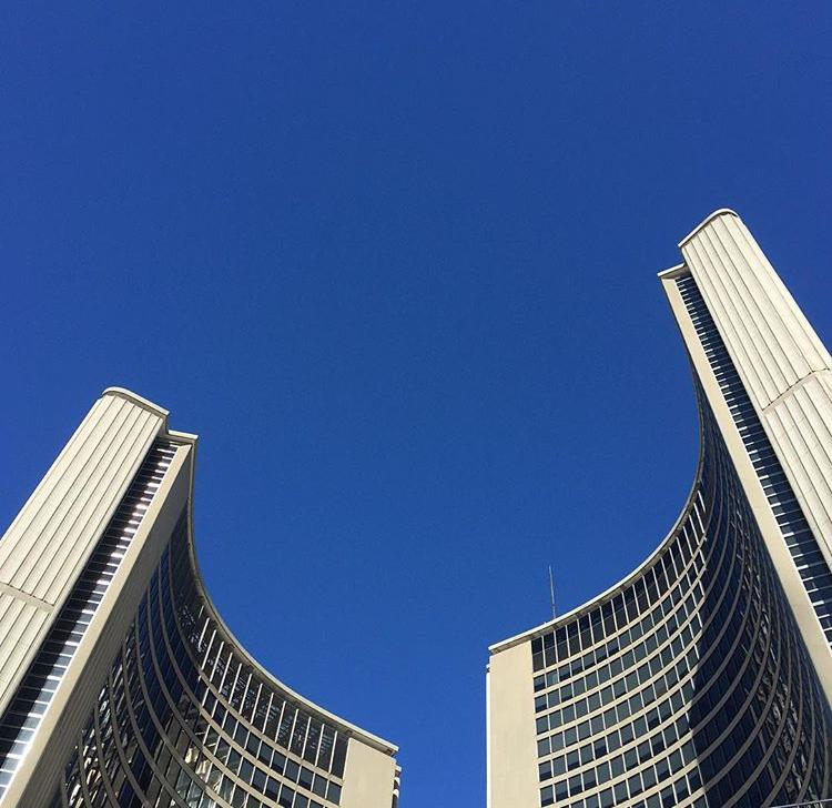 Blue sky over Toronto City Hall, winter 2016